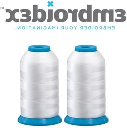 Set of 2 Huge White Spools Bobbin Thread for Embroidery Mach