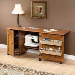 New Sauder Sewing Craft Storage Cabinet Cart Table, Amber Pi