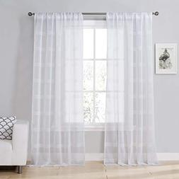 Home Maison Southside Window Curtain, 38 x 63 Inches, White