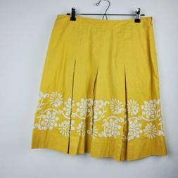 Ann Taylor Sz 8P Petite Pleated Midi Skirt Floral Embroidery