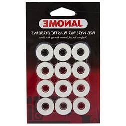 Janome 12 Pack Pre-Wound Plastic Bobbins White Thread