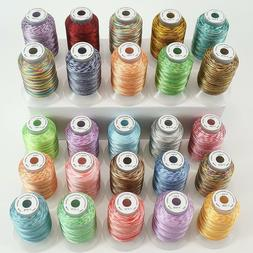 New brothread 25 Colors Variegated Polyester Embroidery Mach