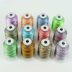 New brothread 12 Colors Variegated Polyester Embroidery Mach