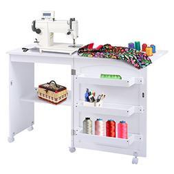 Giantex White Folding Sewing Craft Cart Table Shelves Storag