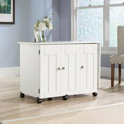 White Sauder Sewing Machine Craft Table Folding Shelves Stor